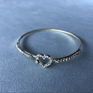 Heart Bracelet Gold Tone with Crystals ~ NWT